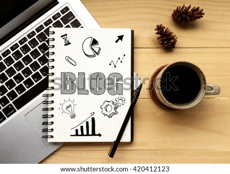 The Word of BLOG on notebook with office desk background