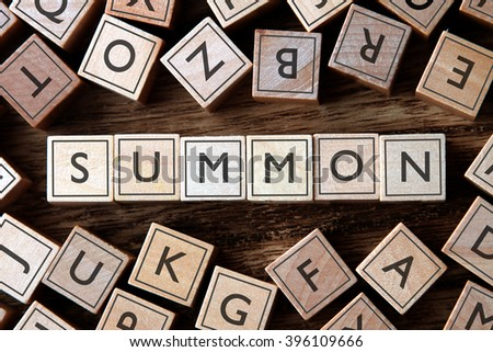 the word of SUMMON on building blocks concept Foto stock ©