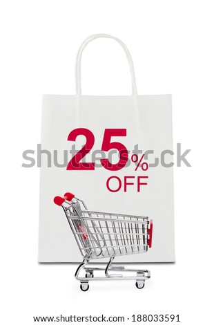 The word 25% off on shopping bag with shopping cart