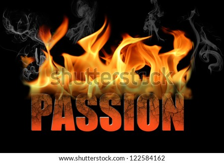 The word passion is written in fire and smoke on a black horizontal background.  Perfect for any conceptual ideas for love, romance, Valentine Day, etc.
