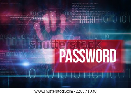 The word password and pink technology hand print interface design against blue technology design with binary code