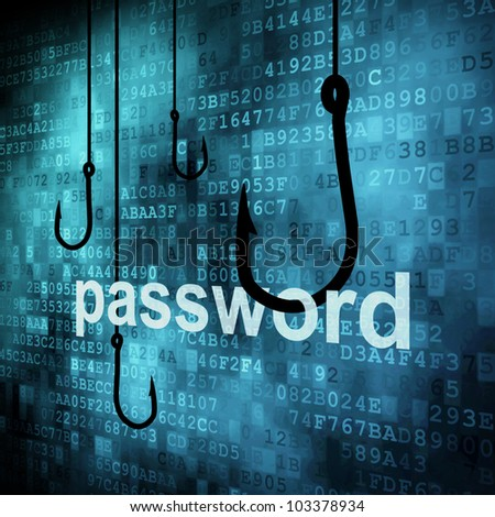 The word password hooked by fishing hook, information security concept