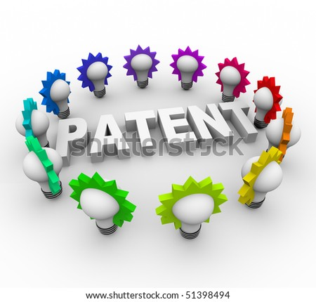 The word Patent surrounded by many colorful light bulbs