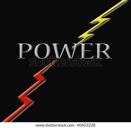 """The word, """"Power"""" and two lightening bolts."""
