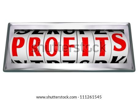 The word Profits on an odometer wheel to represent growing revenue and making more money with more sales and successful earnings