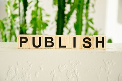 the word publish is written on cubes and greens on a white background behind. Publishing news concept. High quality photo
