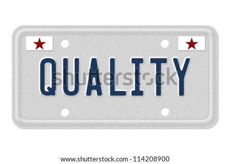 The word Quality on a gray license plate with stars symbol isolated on white, Quality features in new cars