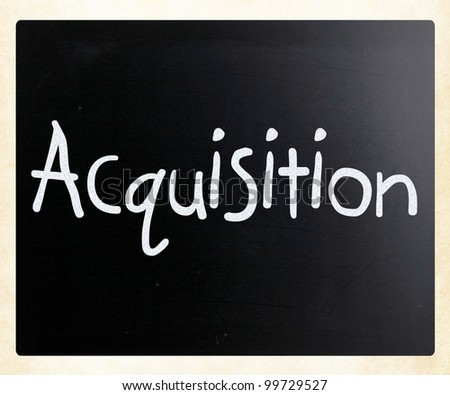 """The word """"Acquisition&q uot; handwritten with white chalk on a blackboard - stock photo"""