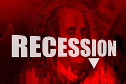The word Recession on a red background with the us dollar. Recession in America. The American economic crisis. The deterioration of the economic situation in the United States.
