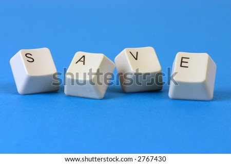 "The word ""SAVE"" formed with keyboard keys"
