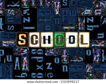 The word school as letters, unique typeset symbols over abstract mosaic pattern background