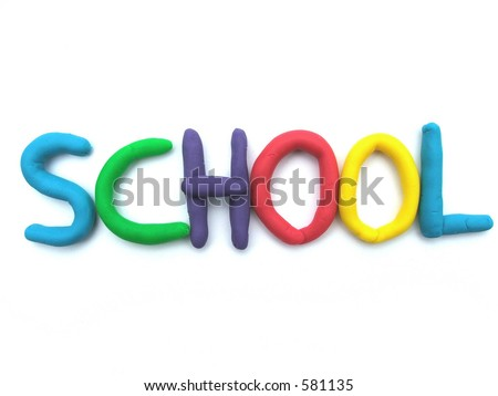 The word SCHOOL in dough or clay letters