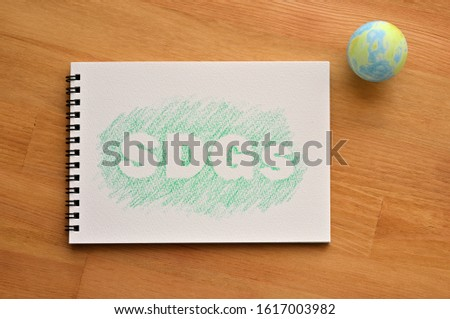 """The word """"SDGs"""" in sketchbook. It is on wooden floor, in diagonal angle with an earth ball."""