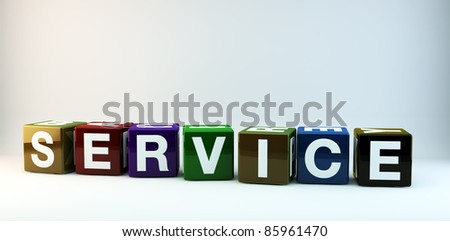 The word SERVICE in colorful cubes.
