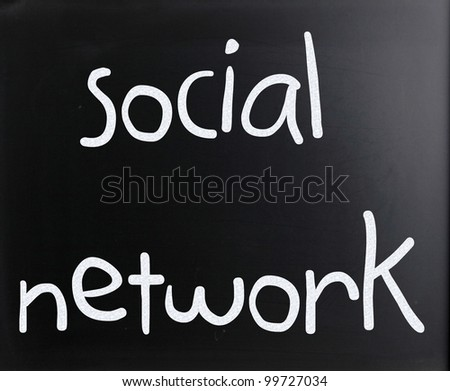 "The word ""Social network"" handwritten with white chalk on a blackboard"