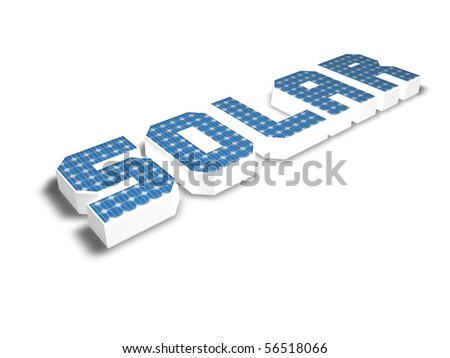 the word solar with solar cells - 3d illustration