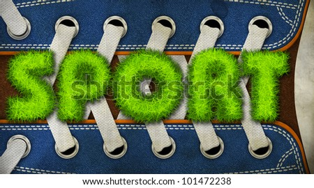 The word sport made of grass in the background of the shoe - stock photo