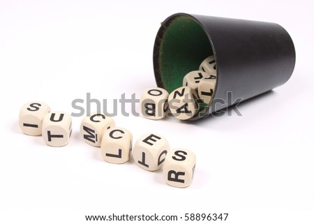 The word succes formed with dices