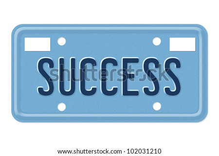 The word Success in blue on license plate isolated on white, Driven to Success