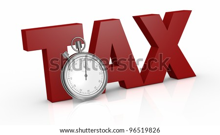 the word tax with a stopwatch on front of it (3d render)