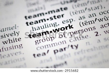 the word teamwork from the dictionary. Great for powerpoint presentations