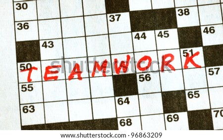 The Word Teamwork on Crossword Puzzle in Red Ink, Copy Space