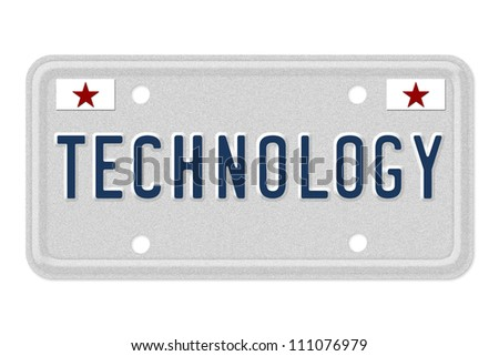 The word Technology on a gray license plate with stars symbol isolated on white, Technology in new cars
