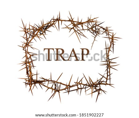 The word Trap among the thorns. Trap concept. Photo stock ©