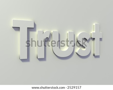 """The word """"trust"""" on a white wall."""