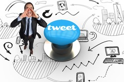 The word tweet and shouting businessman against blue push button