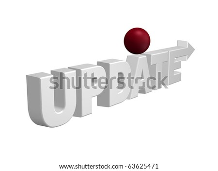the word update with arrow and red sphere - 3d illustration