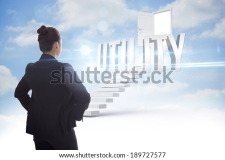 The word utility and businesswoman with hands on hips against steps leading to open door in the sky