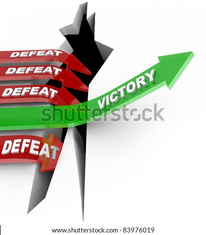 The word Victory rising an upward arrow over a challenge to win the competition while several other arrows fall into the failure of defeat