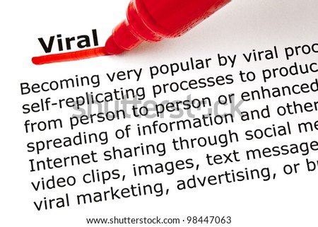 The word Viral underlined with red marker on white paper.