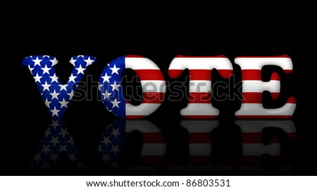 The word vote in the American flag colors, American elections