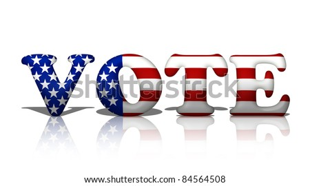 The word vote in the American flag colors, Vote in American