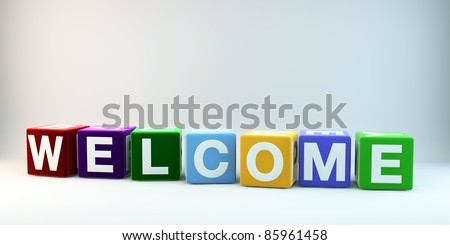 The word WELCOME in colorful cubes.
