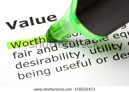 The word Worth highlighted in green, under the heading Value.