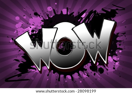 The word wow as a grungy colorfully painting