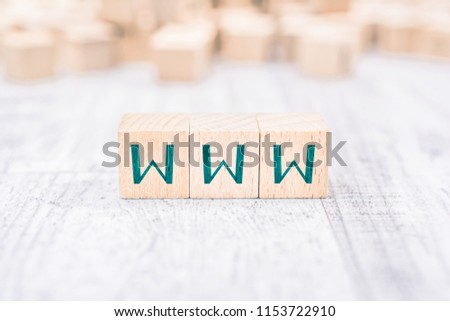 The Word WWW Formed By Wooden Blocks On A White Table #1153722910