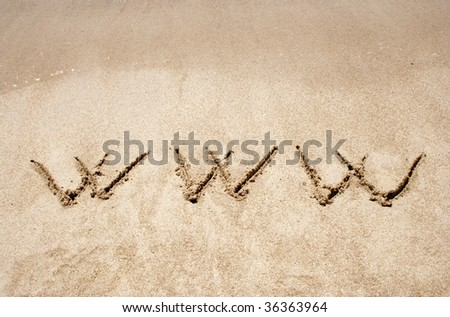 The word www handwritten in sand on a beach, ideal for internet or conceptual designs