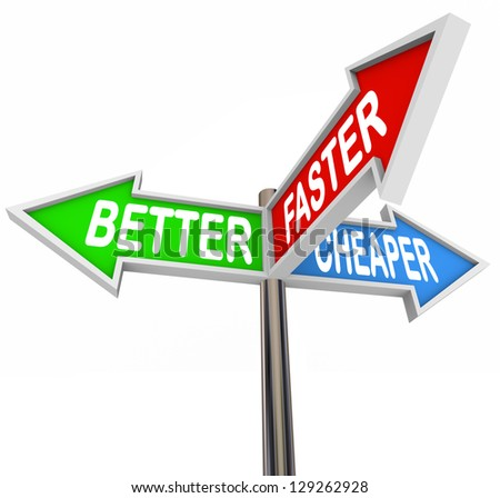 The words Better, Faster and Cheaper on three street signs showing qualities or benefits for improving your products and increasing sales