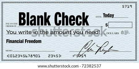 The words Blank Check and you write in the amount you need, representing financial freedom - stock photo