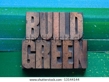 the words 'build green' on a green and blue background - stock photo