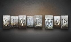 The words CIVIL WAR written in vintage letterpress type