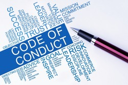 The words Code of Conduct text cloud with a pen on isolated white background. Business concept text cloud.