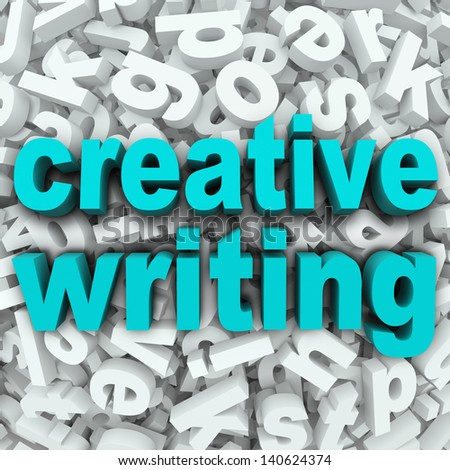 The words Creative Writing on a 3d background of random letters to illustrate focusing your creativity on writing literature, short stories, narratives or poetry in a class or spare time