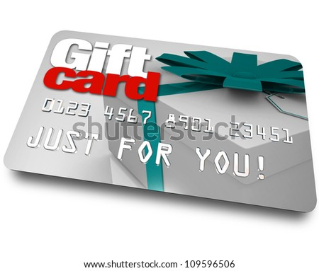 The words Gift Card on a plastic credit or debit card used for buying merchandise from a store as a gift or special present