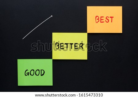 The words good, better and best on note the shape of a staircase. Business concept.