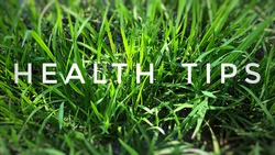 The words Health tips with green backgrounds, health concept.